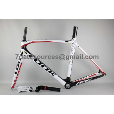 Look 695 Carbon Fiber Road Bike Bicycle Frame White Red-Look Frame