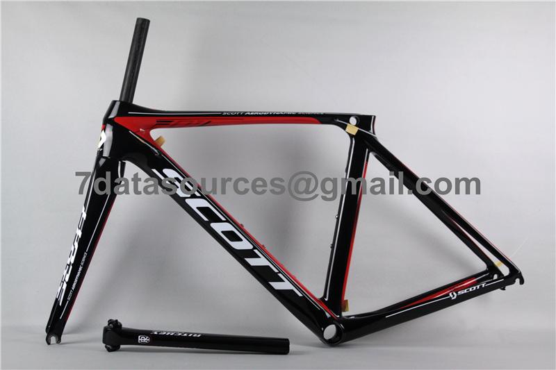 carbon fiber road bike bicycle frame scott foil red shining